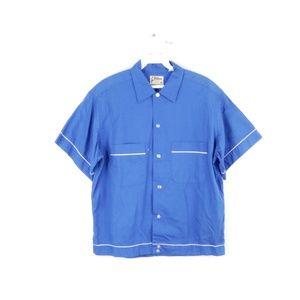 70s Rockabilly Pepsi Co Bowling Shirt Blue Mens M
